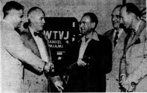 Vladimir K. Zworykin with WTVJ executives on March 6, 1949