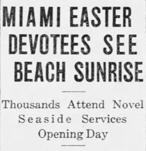 Article headline on Sunday, April 17, 1927 in Miami News.