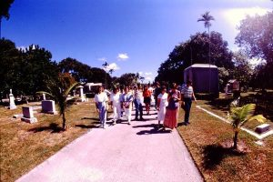 Tour of cemetery conducted by Dr. Paul George in 1988.
