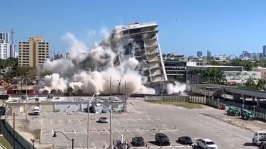 Implosion of South Shore Hospital on April 16, 2019.