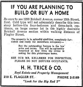 For Sale Ad in Miami Herald in 1936.