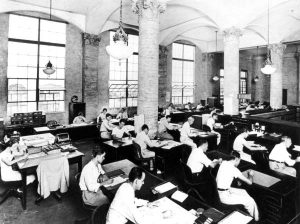 News desk in Daily News Tower in 1930s.