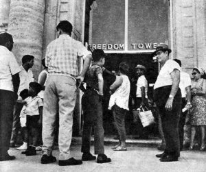 Cuban Refugees in front of Freedom Tower in 1960s.