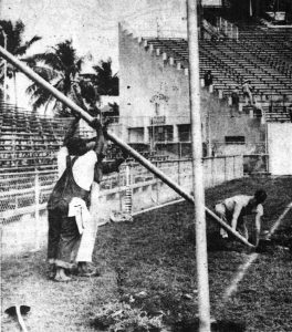 Replacing Goal Posts on November 28, 1952