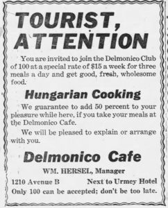 Ad in Miami Metropolis for Delmonico Cafe