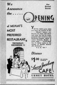 Laura Jacobson Cafe Ad in 1932