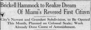 Headline for Brickell Hammock on December 4, 1921