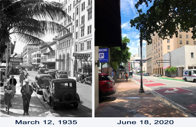 SE First Street in 1935 and 2020