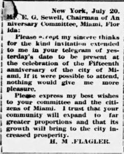 Henry Flagler's Letter in 1911