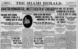 Headline of Miami Herald on September 15, 1912