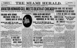Headline of Miami Herald on September 15, 1912