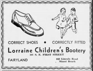 Ad for Lorraine Children's Bootery in 1935