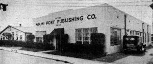 Miami Post Publishing Original Office in Early 1920s