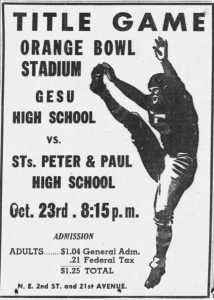 Ad of Catholic High School Title Game on October 23, 1946 in Miami News