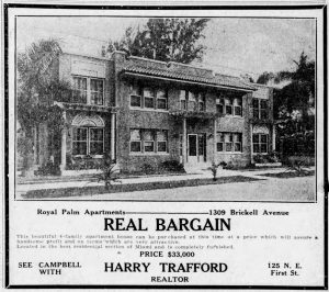 Ad for Royal Palm Apartments in 1924