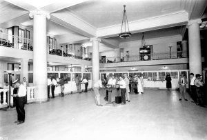 Interior of First National Bank in 1924