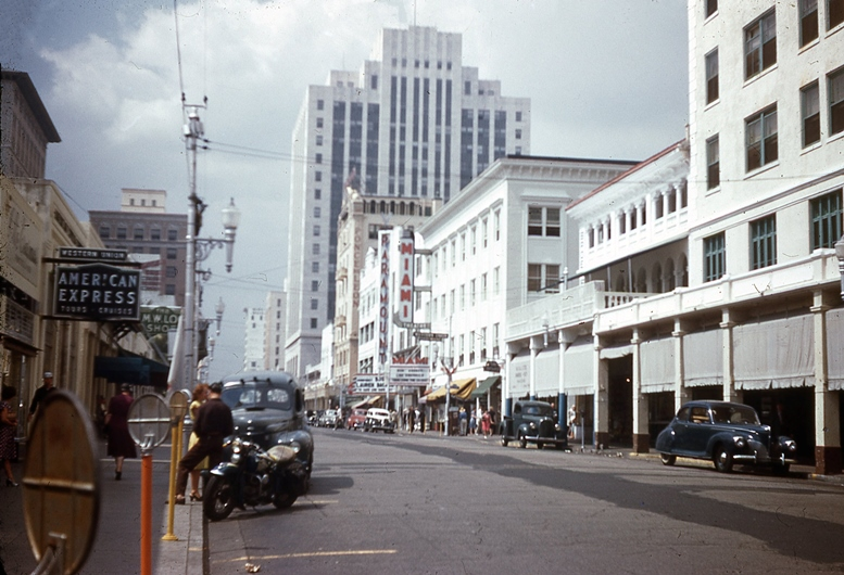 Flagler Street Looking West from Biscayne Blvd in 1945