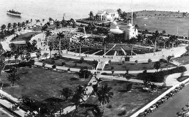 Aerial of Bayfront Park & Bandshell in 1928