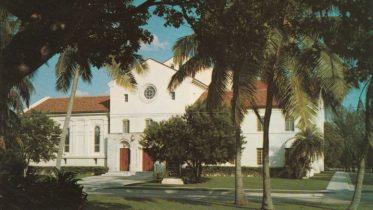 Postcard of First Presbyterian Church at 609 Brickell Avenue.