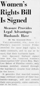 Woman's Rights Headline in Miami Herald on June 5, 1943
