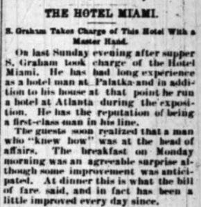 Article in Miami Metropolis on July 10, 1896