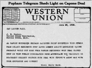 Telegram Published by Miami News on June 23, 1928